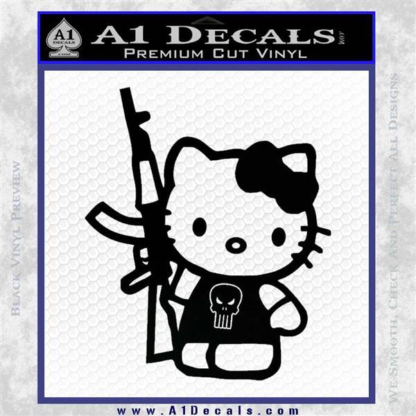 Hello Kitty Skul AK 47 Decal Sticker Black Logo Emblem