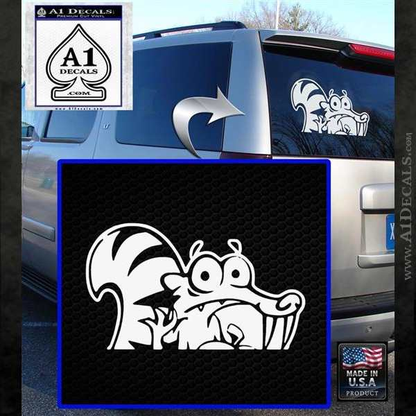 Ice Age Scrat Decal Sticker D1 White Emblem
