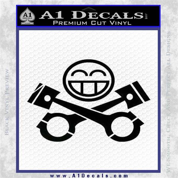 JDM Smiley Piston Decal Sticker Black Logo Emblem