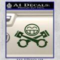 JDM Smiley Piston Decal Sticker Dark Green Vinyl 120x120
