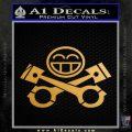 JDM Smiley Piston Decal Sticker Metallic Gold Vinyl 120x120