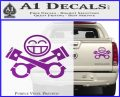 JDM Smiley Piston Decal Sticker Purple Vinyl 120x97