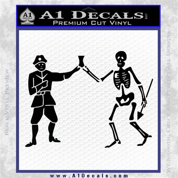 Jolly Roger Black Bart Crossbones D1 Decal Sticker Black Logo Emblem