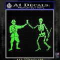 Jolly Roger Black Bart Crossbones D1 Decal Sticker Lime Green Vinyl 120x120