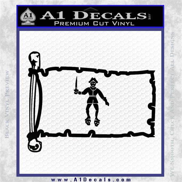 Jolly Roger Black Bart Pirate Flag INT D2 Decal Sticker Black Logo Emblem