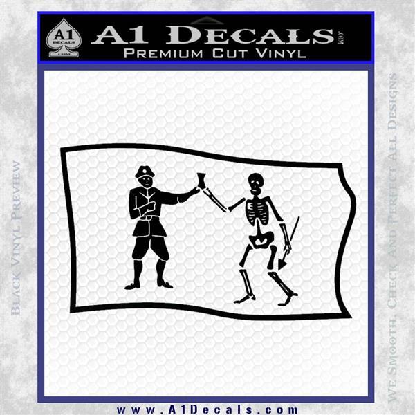 Jolly Roger Black Bart Pirate Flag SL D1 Decal Sticker Black Logo Emblem