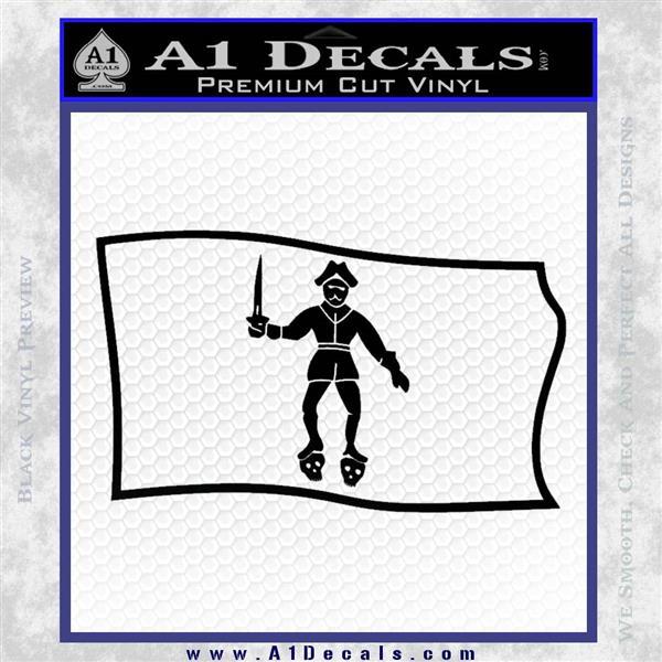 Jolly Roger Black Bart Pirate Flag SL D2 Decal Sticker Black Logo Emblem