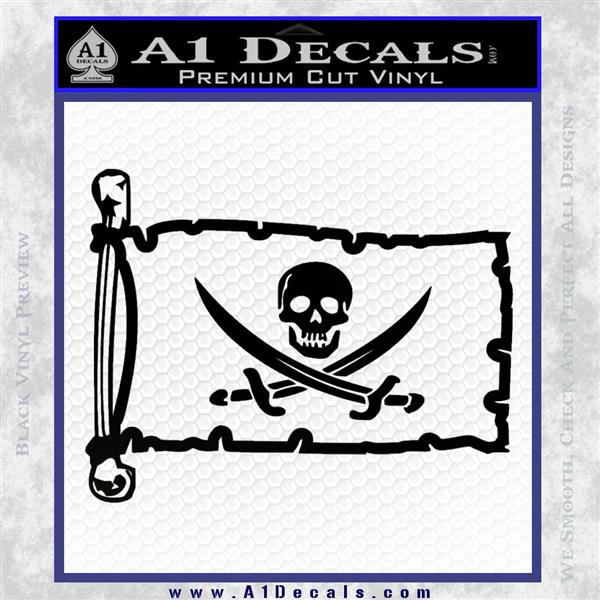 Jolly Roger Calico Jack Rackham Pirate Flag INT Decal Sticker Black Logo Emblem