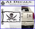 Jolly Roger Calico Jack Rackham Pirate Flag INT Decal Sticker Carbon Fiber Black 120x97