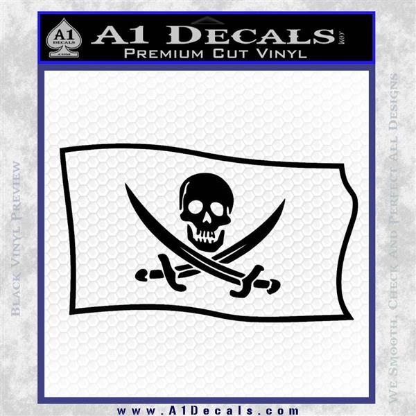 Jolly Roger Calico Jack Rackham Pirate Flag SL Decal Sticker Black Logo Emblem