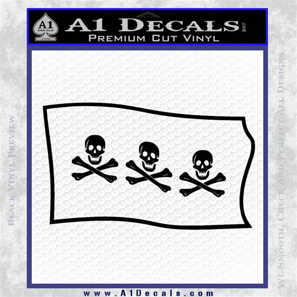 Jolly Roger Christopher Condent Pirate Flag SL Decal Sticker Black Logo Emblem