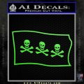Jolly Roger Christopher Condent Pirate Flag SL Decal Sticker Lime Green Vinyl 120x120