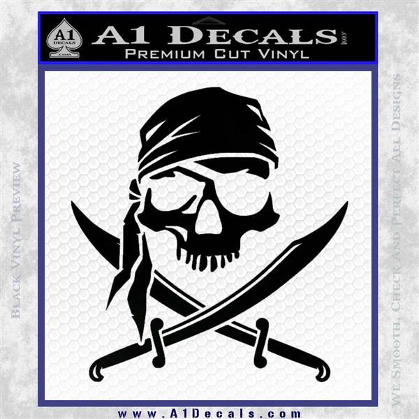 Jolly Roger Decal Sticker Pirate Crossbones D2 Black Logo Emblem