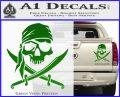 Jolly Roger Decal Sticker Pirate Crossbones D2 Green Vinyl 120x97