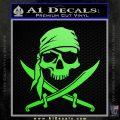 Jolly Roger Decal Sticker Pirate Crossbones D2 Lime Green Vinyl 120x120