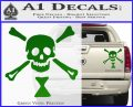 Jolly Roger Emanuel Wynne Crossbones Decal Sticker Green Vinyl 120x97