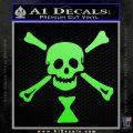 Jolly Roger Emanuel Wynne Crossbones Decal Sticker Lime Green Vinyl 120x120