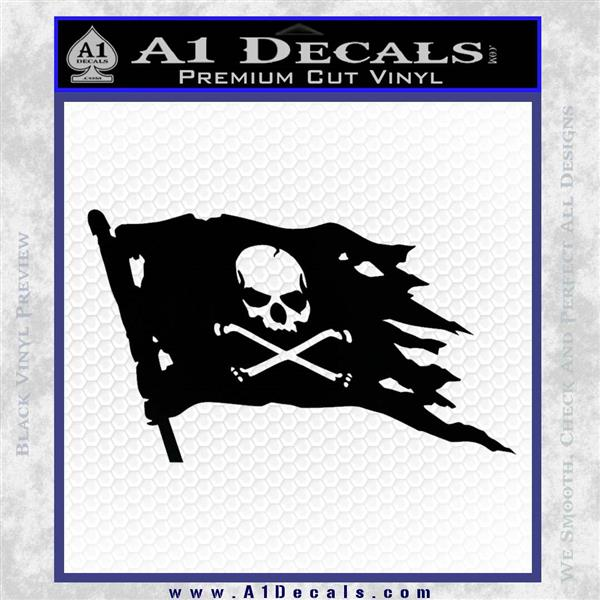 Jolly Roger Pirate Flag D2 Decal Sticker Black Logo Emblem