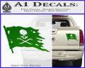 Jolly Roger Pirate Flag D2 Decal Sticker Green Vinyl 120x97