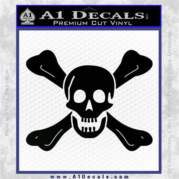 Jolly Roger Richard Worley Crossbones Decal Sticker. Black Logo Emblem
