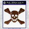 Jolly Roger Richard Worley Crossbones Decal Sticker. Brown Vinyl 120x120