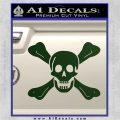 Jolly Roger Richard Worley Crossbones Decal Sticker. Dark Green Vinyl 120x120