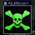 Jolly Roger Richard Worley Crossbones Decal Sticker. Lime Green Vinyl 120x120