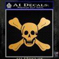 Jolly Roger Richard Worley Crossbones Decal Sticker. Metallic Gold Vinyl 120x120