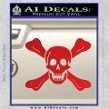 Jolly Roger Richard Worley Crossbones Decal Sticker. Red Vinyl 120x120