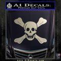 Jolly Roger Richard Worley Crossbones Decal Sticker. Silver Vinyl 120x120