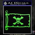 Jolly Roger Richard Worley Pirate Flag INT Decal Sticker Lime Green Vinyl 120x120