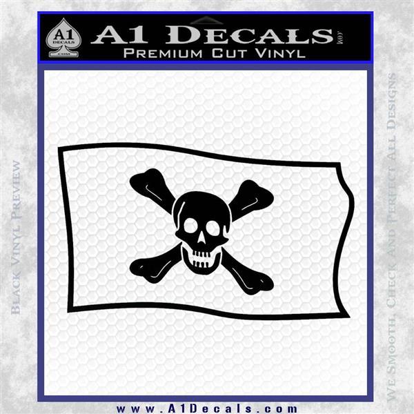 Jolly Roger Richard Worley Pirate Flag SL Decal Sticker. Black Logo Emblem