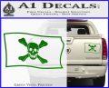 Jolly Roger Richard Worley Pirate Flag SL Decal Sticker. Green Vinyl 120x97