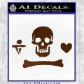 Jolly Roger Stede Bonnet Crossbones Decal Sticker. Brown Vinyl 120x120