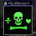 Jolly Roger Stede Bonnet Crossbones Decal Sticker. Lime Green Vinyl 120x120