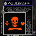 Jolly Roger Stede Bonnet Crossbones Decal Sticker. Orange Vinyl Emblem 120x120