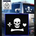 Jolly Roger Stede Bonnet Crossbones Decal Sticker. White Emblem 120x120