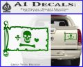 Jolly Roger Stede Bonnet Pirate Flag INT Decal Sticker Green Vinyl 120x97