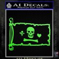 Jolly Roger Stede Bonnet Pirate Flag INT Decal Sticker Lime Green Vinyl 120x120