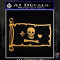 Jolly Roger Stede Bonnet Pirate Flag INT Decal Sticker Metallic Gold Vinyl 120x120