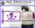 Jolly Roger Stede Bonnet Pirate Flag INT Decal Sticker Purple Vinyl 120x97