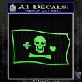 Jolly Roger Stede Bonnet Pirate Flag SL Decal Sticker Lime Green Vinyl 120x120