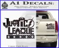 Justice League Text Logo Vinyl Decal Sticker Carbon Fiber Black 120x97