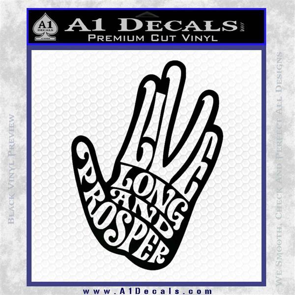 Live Long and Prosper Decal Sticker HTX Black Logo Emblem