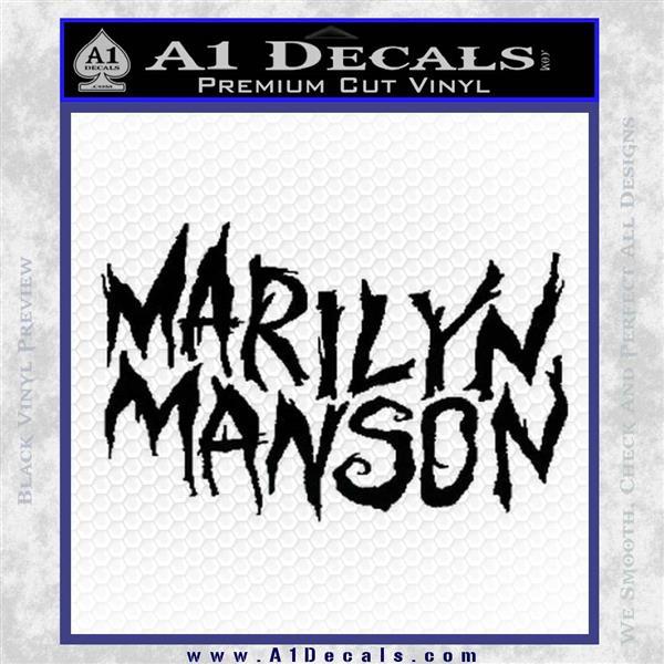 Marilyn Manson Rock Band TXT Decal Sticker Black Logo Emblem