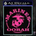 Marines oorah Decal Sticker Hot Pink Vinyl 120x120