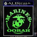 Marines oorah Decal Sticker Lime Green Vinyl 120x120