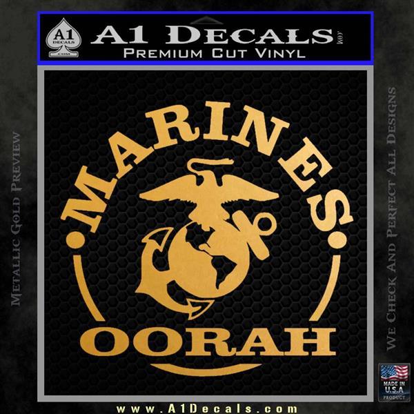 Marines oorah Decal Sticker Metallic Gold Vinyl