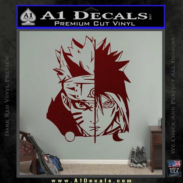 Naruto naruto uzumaki and sasuke uchiha kyoko dlb decal sticker dark red vinyl 120x120