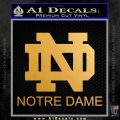 Notre Dame Decal Sticker ST Metallic Gold Vinyl 120x120